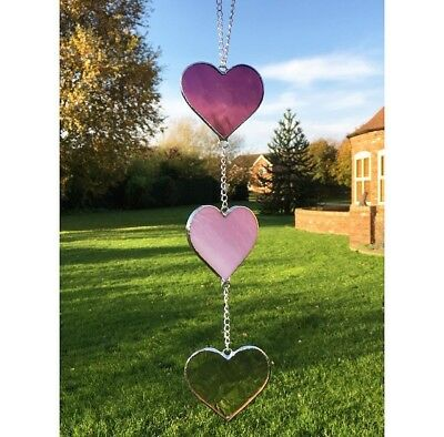 Handmade Stained Glass Love Heart Suncatcher, Pink Glass Gifts Decoration