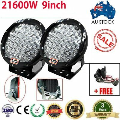 9inch  LED Driving Light Round Spotlights Offroad 4WD Black lamp work 26100W AU