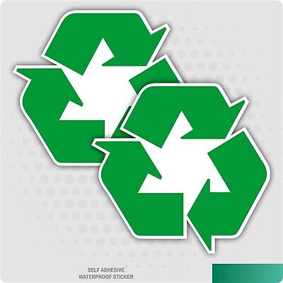 2 x RECYCLING LOGO SELF ADHESIVE STICKERS SAFETY SIGNS BUSINESS