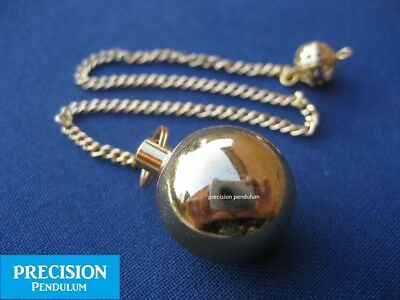 Gold Prof. Calculus Chamber Ball Metal Precision Pendulum with Chain Dowsing