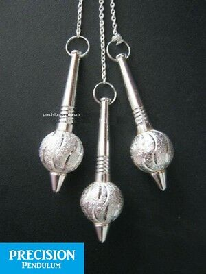 Solid Silver Mace Metal Precision Pendulum with Chain Dowsing Divination Energy