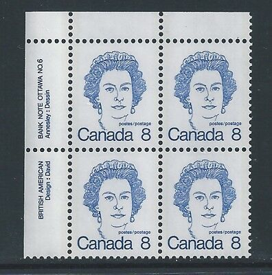 Canada #593bi UL PL BL #6 Dull Fluorescent Paper Variety MNH **Free Shipping**