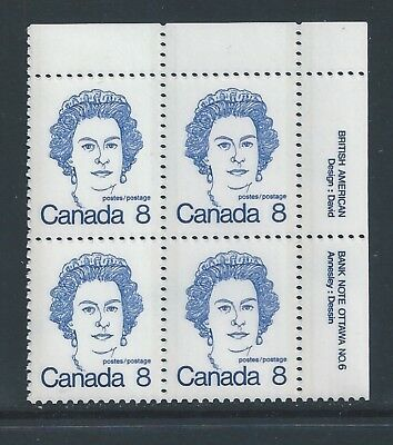 Canada #593bi UR PL BL #6 Dull Fluorescent Paper Variety MNH **Free Shipping**
