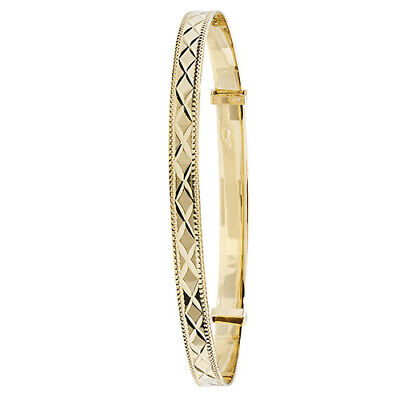 9ct Solid Gold Ladies Expanding Patterned Bangle - 4.1 grams