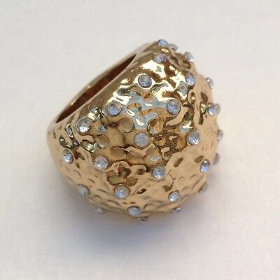 Gorgeous Vintage Designer Gold Tone Studded White Crystals Puffer Fish Ring