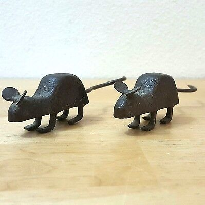 "Small Vintage Pair Of Brownish Cast Iron Mice 4"" Long 1"" High"