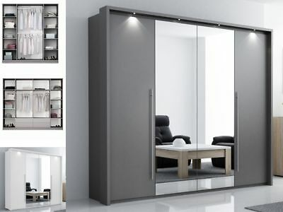 Bedroom Mirror Wardrobe DAKO 8 with LED Light - Multiple colours and sizes