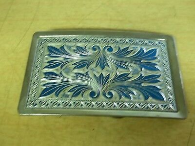 "Vintage 3-1/4"" Silver and Blue Metal Belt Buckle *FREE SHIPPING*"