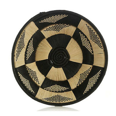 African Basket Butterfly Design Hand Woven Black Raffia Natural Grass w Banana
