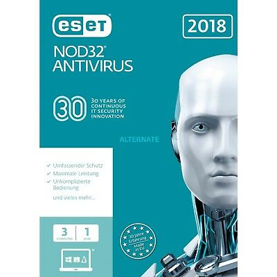 ESET NOD32 Antivirus 3 PC 1 Anno Global Key Digital Download Fatturabile ESD