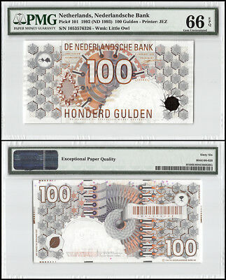 Netherlands 100 Gulden, 1992 (ND 1993), P-101, UNC, Little Owl, PMG 66 EPQ