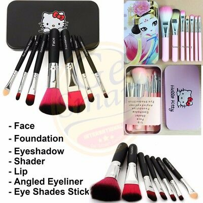 Hello Kitty 7Pcs Makeup Brush Set Mini Size Professional with Box Free Shipping
