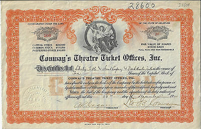 Delaware 1921 Conway's Theatre Ticket Offices Inc Stock Certificate Leo B Conway