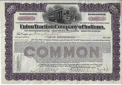 INDIANA 1912 Union Traction Company of Indiana Stock Certificate RARE