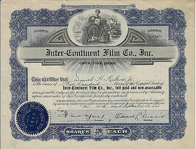 NEW YORK 1914 Inter-Continent Film Co Stock Certificate #34