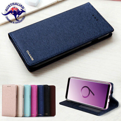 Luxury Silk Leather Magnetic Flip Wallet Case Cover For Samsung Note9 S9 S8 Plus