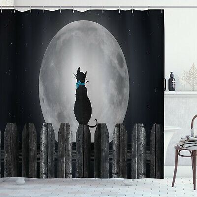Moon Shower Curtain Cat Looking At The Moon Print For Bathroom 84 Extralong 39 99 Picclick