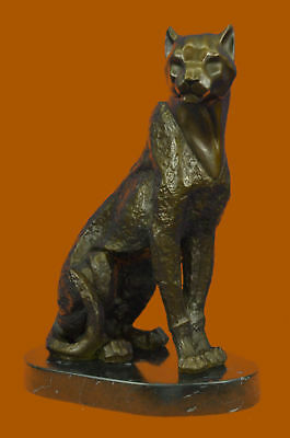 Signed Original Williams Cougar Puma Made by Lost Wax Method Bronze Statue Decor
