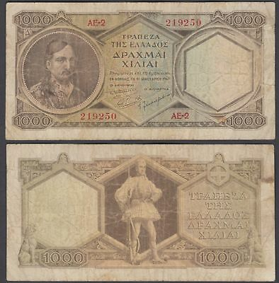 Greece 1000 Drachmai ND 1947 (F) Condition Banknote KM #180