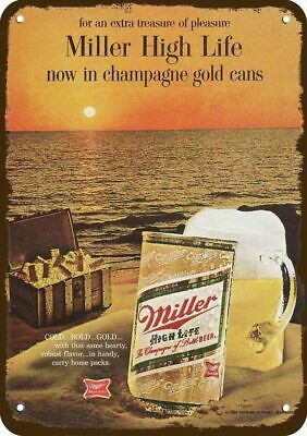 1968 MILLER HIGH LIFE BEER Vintage Look Metal Sign - NOW IN CHAMPAGNE GOLD CANS