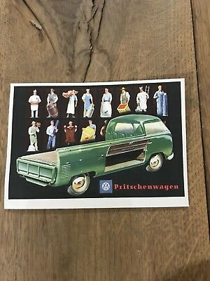 ORIGINAL NOS VINTAGE VW POSTCARD EARLY 50's BARN DOOR PICK UP *RARE
