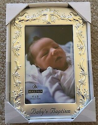 "Malden International Silver ""Baby's Baptism"" Photo Frame, 4x6 Photo"