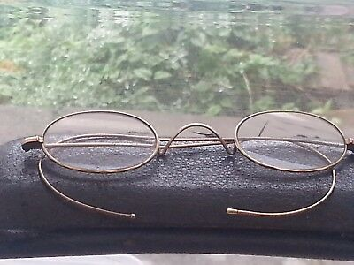 Vintage Gold Tone Wire Frame Glasses Oval Shape Steam Punk w/ Case