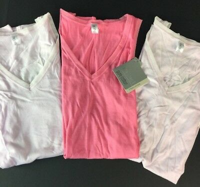 Fine Lines Camisole Lot of 3 Size Medium Pure Cotton V Neck  Cami New B34