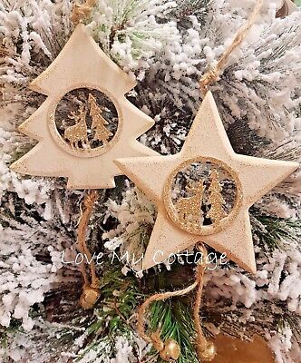 Christmas Scene Tree Decoration Rustic Pale Gold Reindeer Stag Nordic TREE STAR
