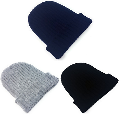 Ribbed Beanie Hats Mens Ladies Slouch Winter Knitted Turn Up Woolly Womens Adult