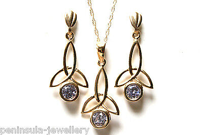 9ct Gold Celtic Lilac CZ Pendant and Earring Set Gift Boxed Made in UK