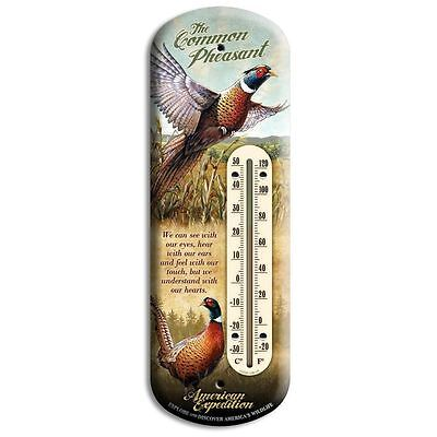 """Wildlife Back Porch Tin 4"""" x 11 3/4"""" Pheasant Thermometer Indoor/Outdoor"""