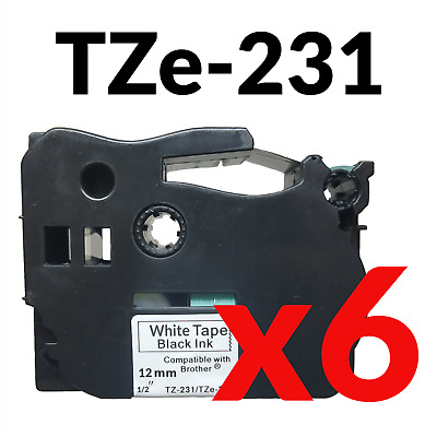New 6 Pack Black on White Label Tape 12mm For Brother TZe Tz 231 P-Touch 29.5ft