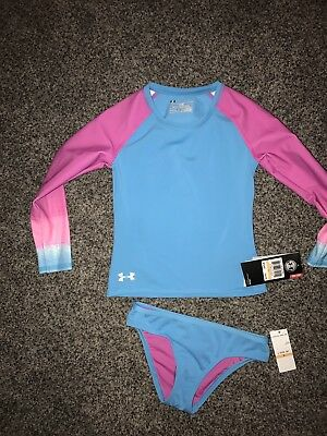 Under Armour Girls Swimsuit Rash Guard Long Sleeve Two Piece NWT
