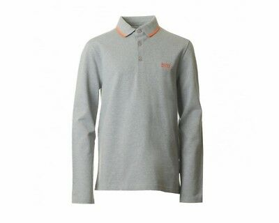 d67a88dcba3ba Sale Hugo Boss Kids J25X24 A33 Long Sleeve Boys Polo Shirt Grey 4-16 Years