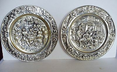 Vintage Tin Plates Wall Hangings Decoration Gold Tone Lot of 2
