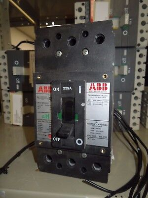 ABB Type EH 225A 3P 600V Circuit Breaker w/ Auxiliary Switch & Shunt Trip Used