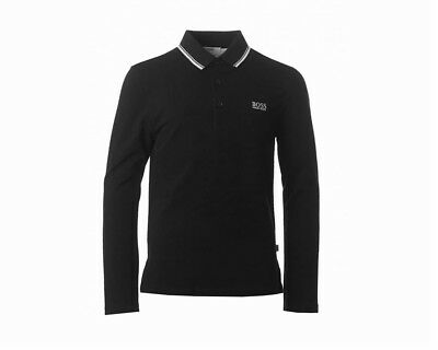 Sale Hugo Boss Kids J25X24 09B Long Sleeve Boys Polo Shirt Black 4-16 Years