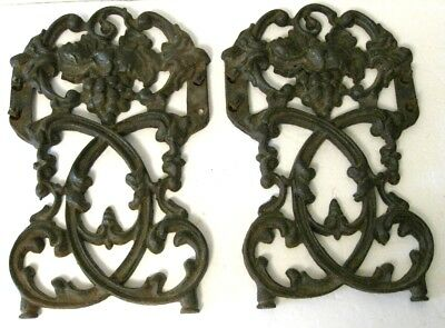 Architectural Salvage Cast Iron Grapes & Trellis Brackets Panels Corbels LOT of2