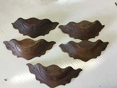 5  Vintage  Hand Carved Walnut Wood Drawer Pulls
