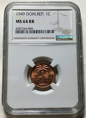 NGC MS 64 RB Dominican Rep. 1949 Centavo