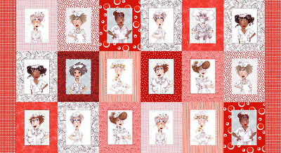 Nifty Nurses Red by Loralie Cotton Quilting Fabric Panel