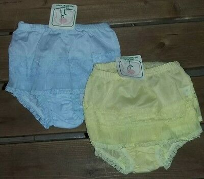 1970s Girls Vintage Baby Yellow Blue Fancy Panty Panties Size 2 Pamper Covers