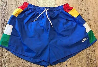 VINTAGE 80s NIKE NYLON COLOR BLOCK LINED RUNNING SHORTS BLUE TAG USA MADE
