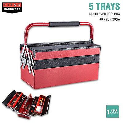 Cantilever Tool Box 5 Tray Storage Toolbox Metal Mechanic Chest Organiser Drawer
