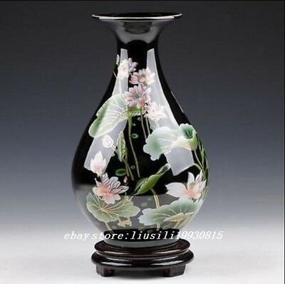Unique Chinese black Porcelain Handmade painting Lotus vase