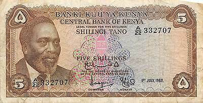Kenya 5/- 1.6.1968 Prefix A/22 circulated Banknote , G. 1C