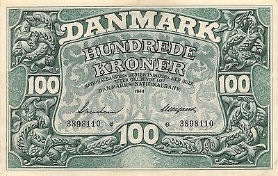 Denmark 100 Kroner  1944  P 39a  Series e circulated Banknote