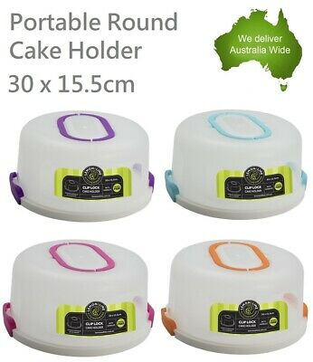 Portable Clip Lock Cake Holder with Handle Carrier Cupcake Dessert Box Round