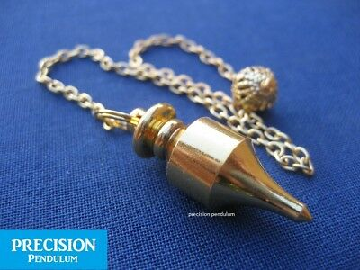 Gold Fortune Teller Solid Metal Precision Pendulum with Chain Divination